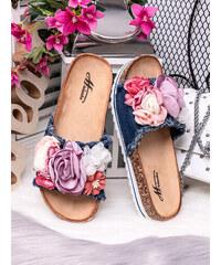 MODANOEMI Korkové denim modré pantofle s květinami Mulanka TS-22TM 786f3fd869