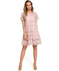 25818ddafe10 Moe Dámské společenské krajkové šaty Moe 127525 růžové - růžová