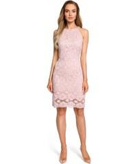 Moe Dámské společenské krajkové šaty Moe 127522 růžové - růžová 28ee39f900