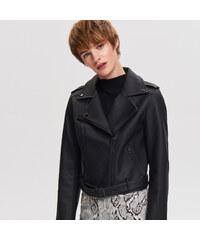 fc2de77bf2a7 Reserved - Motorkárska bunda z imitácie kože - Čierna