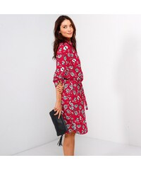 53cb9438033 Blancheporte Šaty s páskem a potiskem květin květy červená režná