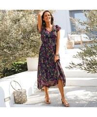 Blancheporte Dlouhé šaty s potiskem bronzová purpurová 3d86bb3715