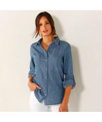 Blancheporte Džínová košile s dlouhými rukávy denim sepraná modrá 921dcc143a