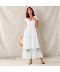 Blancheporte Dlhé macramé šaty s volánmi biela 071fa0e6413