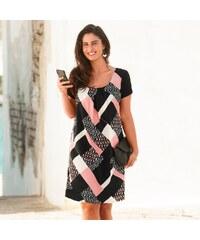 89a9bf9bfab0 Blancheporte Šaty s grafickým vzorom a krátkymi rukávmi čierna biela ružová