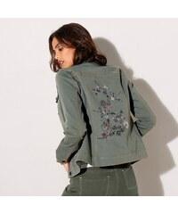 20eac346f97a Blancheporte Džínsová bunda s výšivkou khaki