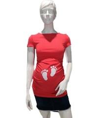 Móda Taleti Těhotenská halenka Kaza červená tlapičky 3dbd0d8552