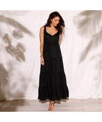 Blancheporte Dlhé volánové šaty čierna 66f0def1ef5