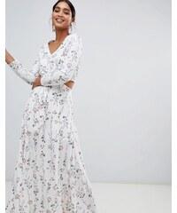Liquorish floral print cutaway maxi dress - White 712a1e705a