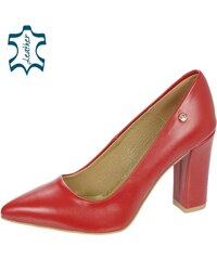 f76148aa94ac OLIVIA SHOES Červené kožené lodičky na pohodlnom hrubom podpätku 944-014