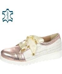 9a398ecf63ff OLIVIA SHOES Ružovo- zlaté metalické tenisky s potlačou DTE067