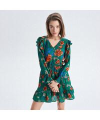 Cropp - Floral chiffon dress with ruffle trim - Zelená 7c594f68d1c