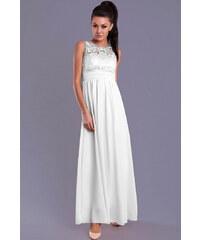 Perfect Dlouhé společenské šaty s krajkou a kamínky bez rukávů c1ec25b2366