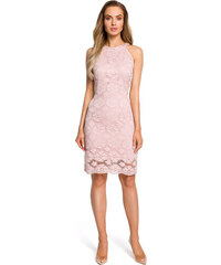 1fa271a9fbc9 Ružové elegantné púzdrové čipkované šaty s raglánovým dekoltom MOE431