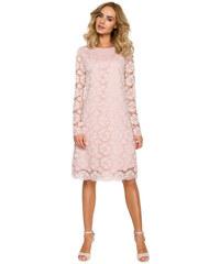 289fd6e8a50d Púdrovoružové elegantné čipkované šaty v Alinii MOE406