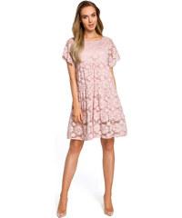 098d742c694b Púdrovoružové elegantné čipkované šaty v Alinii s rukávom MOE430