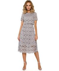 009a709012ab Sivé elegantné čipkované MIDI šaty MOE405
