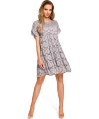 419124e8b224 Sivé elegantné čipkované šaty v Alinii s rukávom MOE430