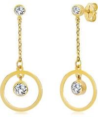 6f003d8be Šperky eshop - Náušnice v žltom zlate 585 - obruč so zirkónom visiaca na  retiazke GG20