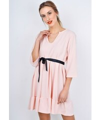 d7a9e780b232 Rouzit Krátke ružové letné šaty so stuhou