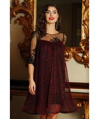 StarShinerS Burgundy Artista alkalmi bő szabású ruha vékony anyag belső  béléssel csipke ujj lamé szál 235ca0dd5d