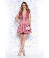 535a9e8575 Rózsaszínű StarShinerS fodros alkalmi tüll ruha