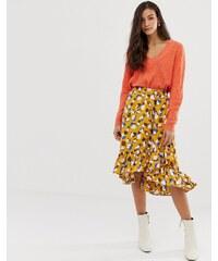 387e8d46e41 Vila Smudge print midi skirt - Nugget gold