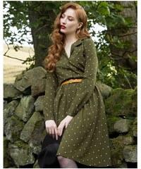 6034a6a9c5f4 Lindy Bop Perrie Moss Zelené Šaty s bodkami
