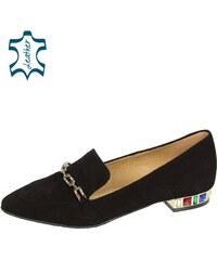 d6e77dc86dfe OLIVIA SHOES Čierne elegantné lordsy z brúsenej kože s ozdobou a s  farebnými kamienkami DBA041
