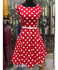 GOTTA Retro šaty Lucie červené s velkými bílými puntíky 42 13f2a1d27f