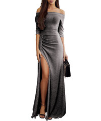 NoName Dámské společenské šaty dlouhé metalcké černé 4bae940a6c
