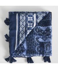 Sinsay - Vzorovaná šála s třásněmi - Modrá 4b095cb049