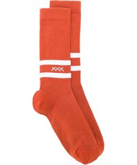 Ermenegildo Zegna logo embroidered striped socks - Orange 1dccbe0cb0