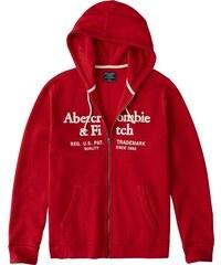 Abercrombie   Fitch Mikina s kapucí  CORPORATE LOGO FZ RED  červená d28b9c55646