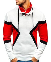 fe0ef426e4f Bílo-červený pánský svetr Bolf 1011