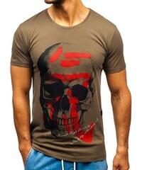 ebd7dbd09d34 Khaki pánske tričko s potlačou BOLF 2045