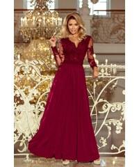 35af11b746 Grace Shop Estélyi ruha, csipke ujjú, bordó, 213-2
