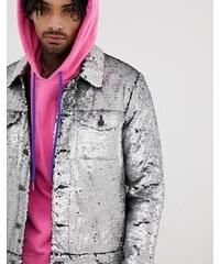 9a8df8d5a78a ASOS DESIGN Festival western sequin jacket in silver - Silver