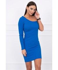 302792a9d820 MladaModa Šaty na jedno rameno z vrúbkovaného materiálu model 64233 farba kráľovská  modrá