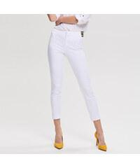 Reserved - Hladké kalhoty - Bílá 9546af43de