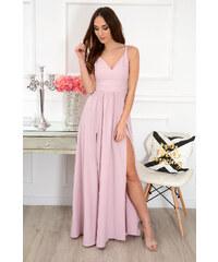c6abec68cdaf EMO Púdrovo-ružové šaty s vysokým rázporkom Pauline CO-39442. 71