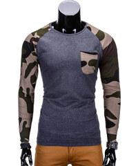 40a425b15 Ombre Clothing Pánské basic triko s dlouhým rukávem L64 tmavě šedo-maskáčové