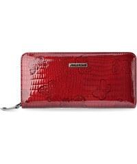 b405f08a1abba Objemná lakovaná peněženka dámská lorenti s motýli - červená