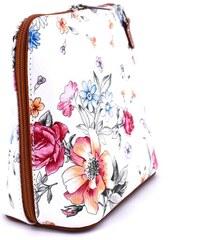 Dámská malá květovaná kožená kabelka crossbody Arteddy - hnědá d5ab325ae47