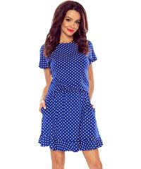 Bergamo Modré bodkované šaty M56449 8f9eeee8420