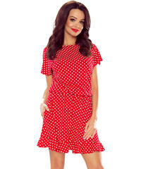 cbff2537bed Bergamo Červené tečkované šaty M56451