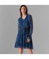 Mohito - Květované šaty s ozdobným vázáním - Modrá 4519760c053