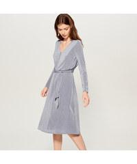 Mohito - Šaty s viazaním v páse - Modrá 499ffa10e69