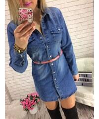 Style Fashion Džínové košilové šaty či prodloužená džínová košile - tunika 2ebaedba1b