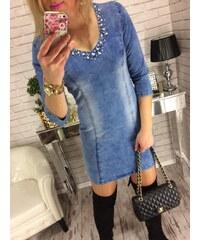 8f0583a4a43 Style Fashion Džínové šaty s perličkami